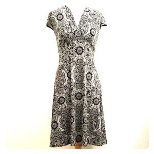London Times Black & White Floral Print Dress D28